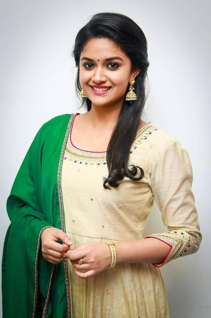 103fb6b8cbc Keerthy Suresh in Wheat Color Dress with Cute and Lovely Smile ...