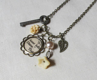 image anne of green gables anne shirley diana barry boho chic charm necklace literature lm montgomery beige tan champagne vintage skeleton key two cheeky monkeys