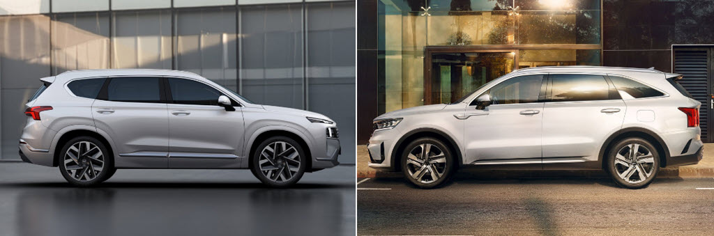 Hyundai Santa Fe 2021 và Kia Sorento 2021 - cuộc chiến SUV Hàn Quốc