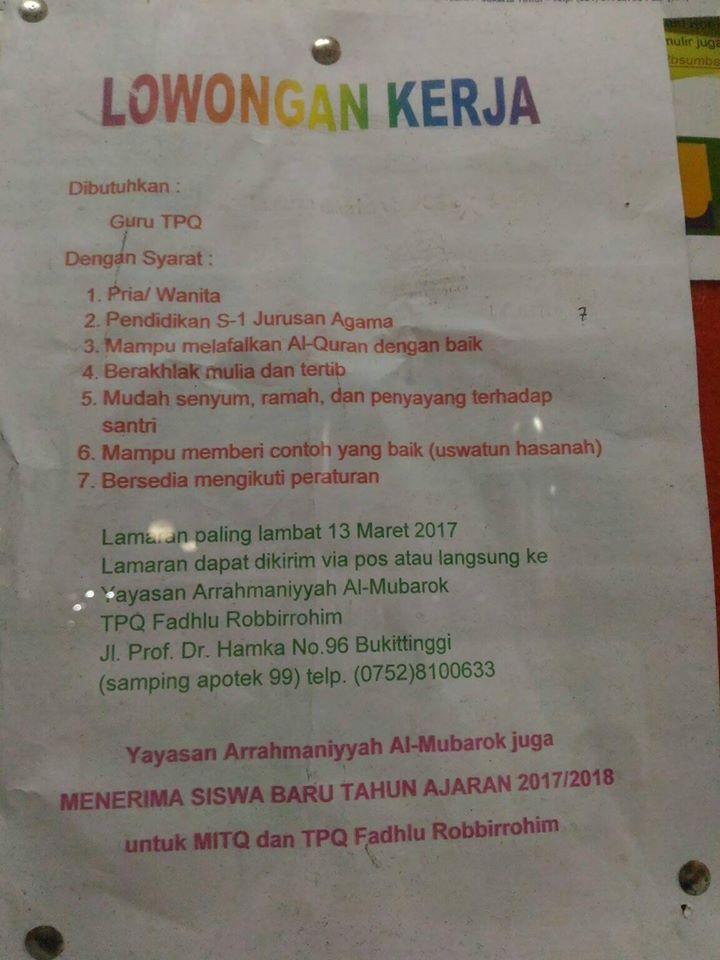 Lowongan Kerja di Bukittinggi – Yayasan Arrahmaniyyah Al Mubarok Bukittinggi (Maret 2017)