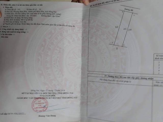 Bán đất phường Bửu Hòa 103mv (CYNT)