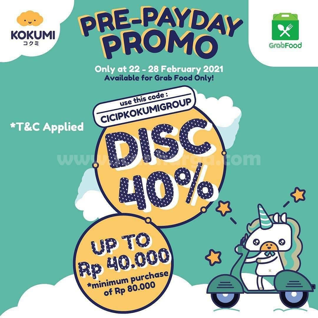 KOKUMI Promo PRE-PAYDAY GRABFOOD! Diskon 40%