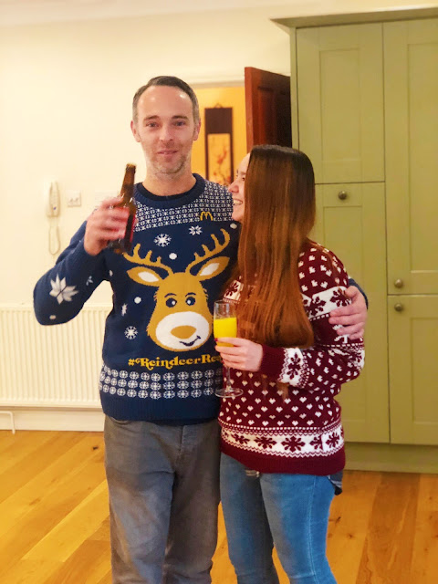 AJ and Gary wearing Christmas Jumpers on Christmas Day