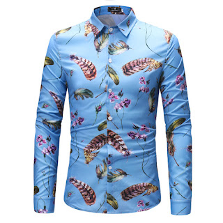 Men's Feather Print Long-Sleeved Shirt