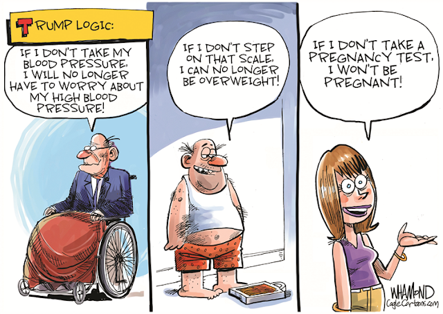 Title: Trump Logic.  Frame One:  Old man in wheelchair says,