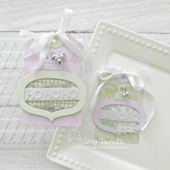 Ornament shaker tags by Amy Tsuruta | Ornament Shaker Die Set and Fancy Edges Tag Die Set by Newton's Nook Designs
