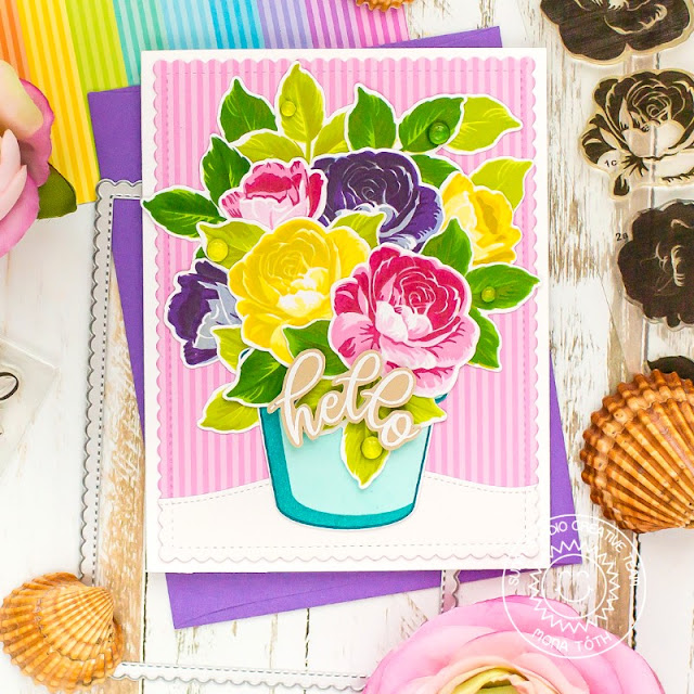 Sunny Studio Blog: Roses in Flower Pot Hello Summer Handmade Card by Mona Tóth (using Potted Rose Stamps, Everything's Rosy Stamps, Frilly Frames Stripes Dies, Woodland Border Dies and Dots & Stripes Pastels Paper)