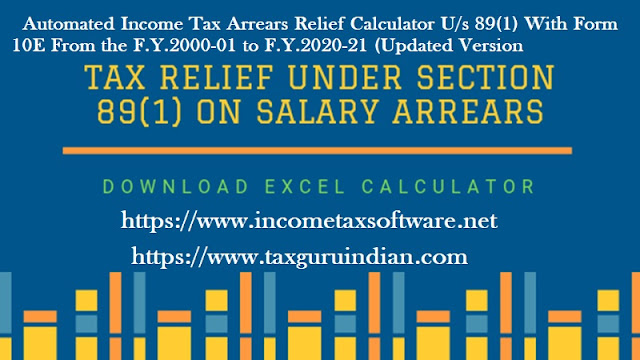Income Tax Arrears Relief Calculator for the A.Y. 2021-22