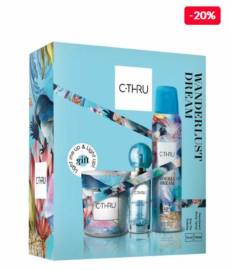 Set cadou C-THRU Wanderlust (Apa de toaleta 30 ml + Deospray 150 ml + Geanta cadou), pentru femei