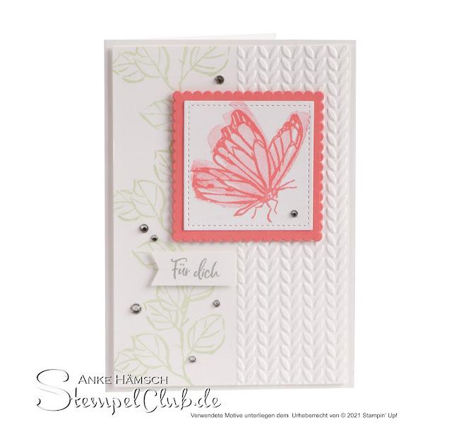 Grußkarte mit Stampin UP Stempelset Tintentraum, geprägt mit Schmetterling in den Farben flamingorot, weiss und Lindgrün