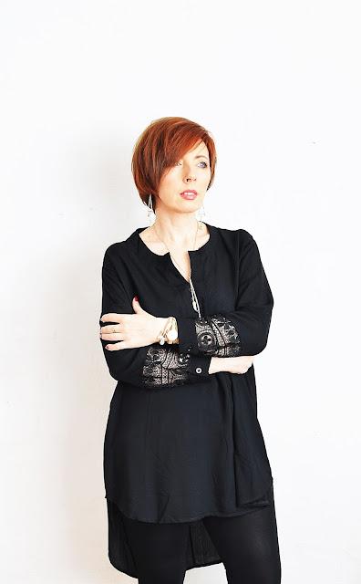 YESFASHION, czarna sukienka/tunika/bluzka.