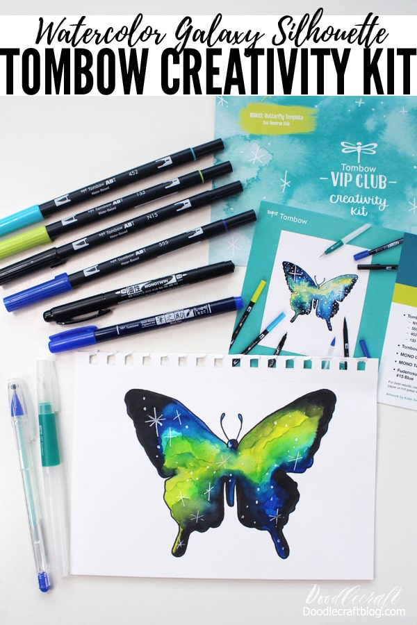 Paint stunning Watercolor Galaxy Silhouettes with the Tombow Creativity Kit.