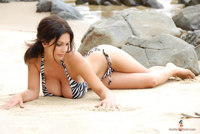 Denise Milani Beach Zebra HD Sexy Photoshoot Hot Photo 23