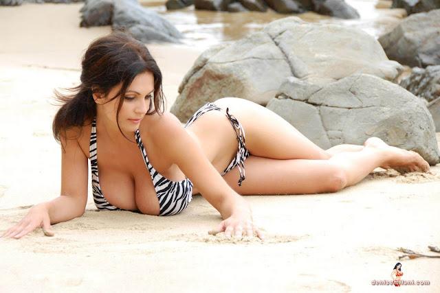 Denise Milani Beach Zebra HD Sexy Photoshoot Hot Photo 23