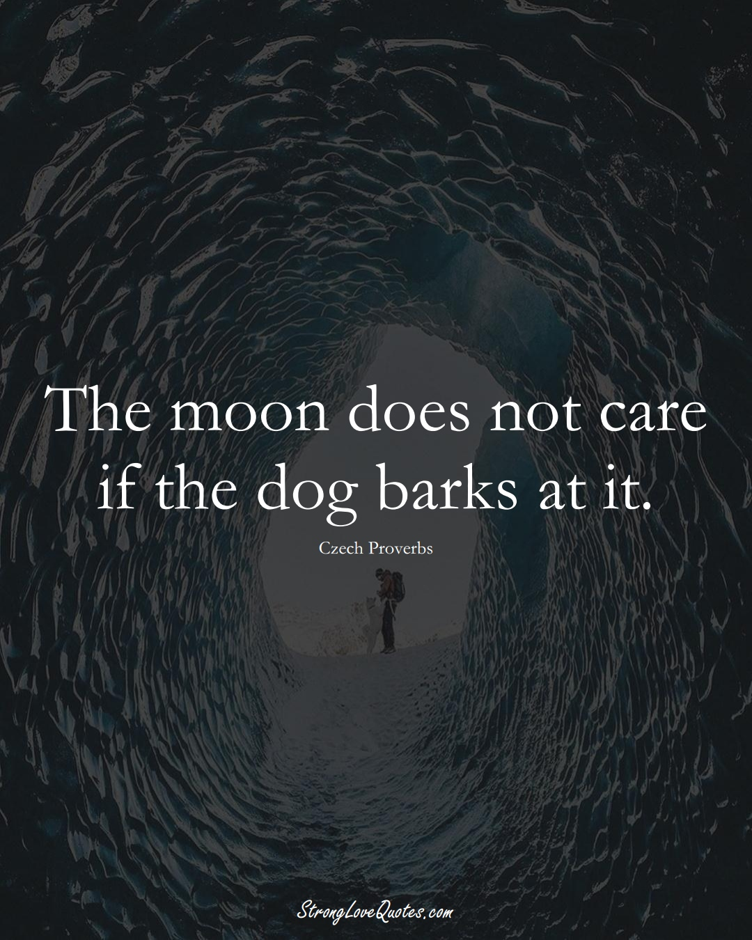The moon does not care if the dog barks at it. (Czech Sayings);  #EuropeanSayings