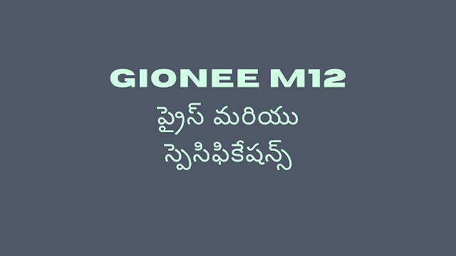 Gionee M12 ప్రైస్ మరియు స్పెసిఫికేషన్స్