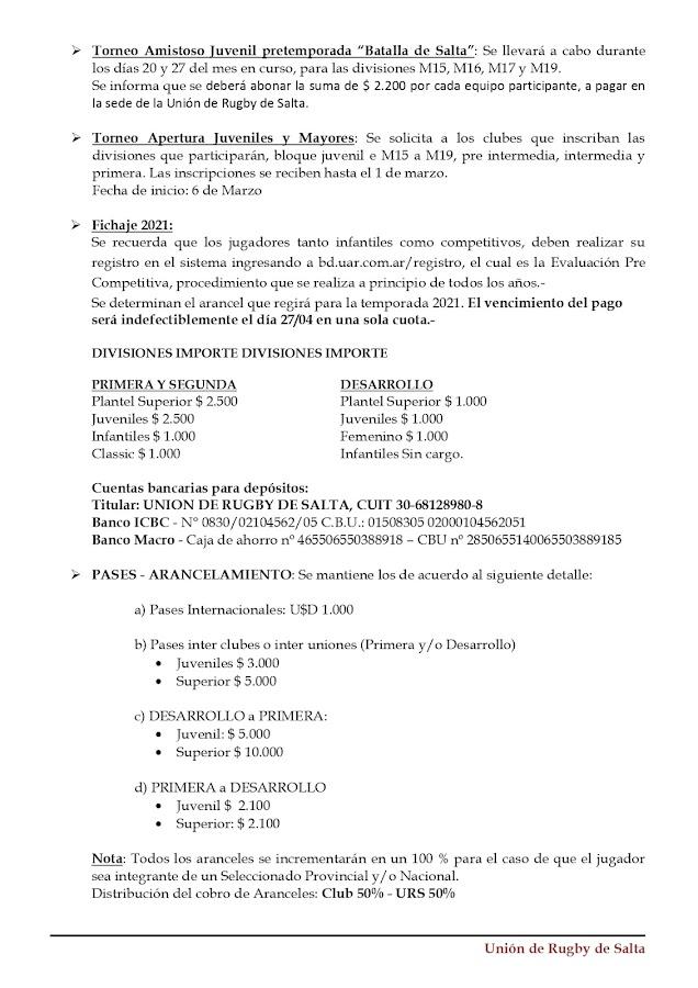 Boletín Oficial de la Unión de Rugby de Salta.