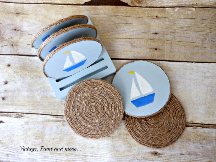 Vintage, Paint and more....DIY nautical coasters made with twine and stenciled with craft paints