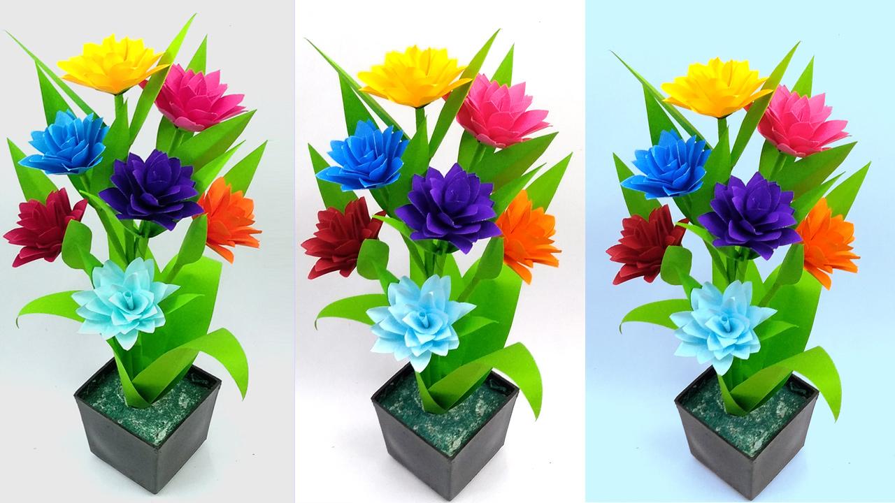 Colors Paper Easy Paper Flower Vase Decoration How To Make Paper Flower Vase At Hom