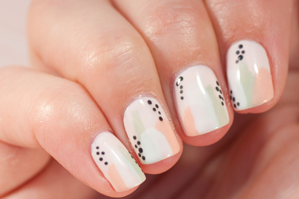 Abstract nail art design with pastel shades from Pink Gellac Love Affair Collection