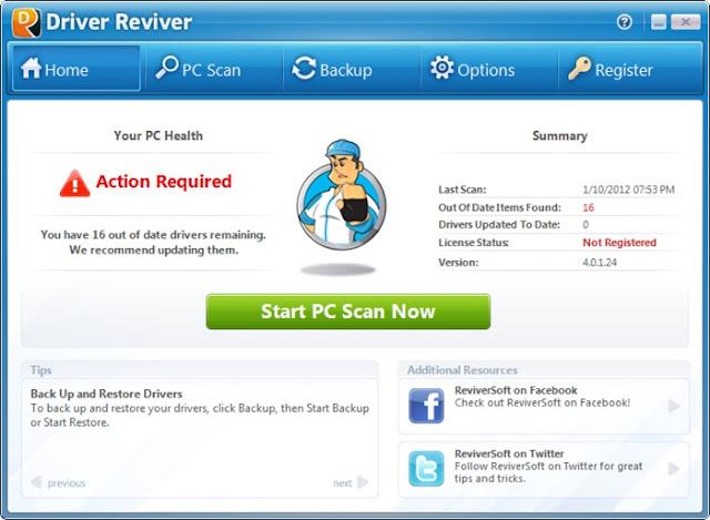 تحميل برنامج البحث عن التعريفات مجانا Driver Reviver
