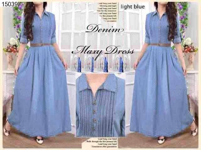 Jual Maxi Dress Rample Maxi Dress Denim - 15039