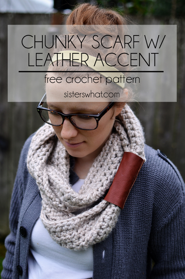 Chunky Scarf with Leather Accent, a free crochet pattern.