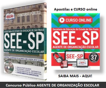 Apostilas Concurso agente de Organização Escolar - SEE-SP 2018.