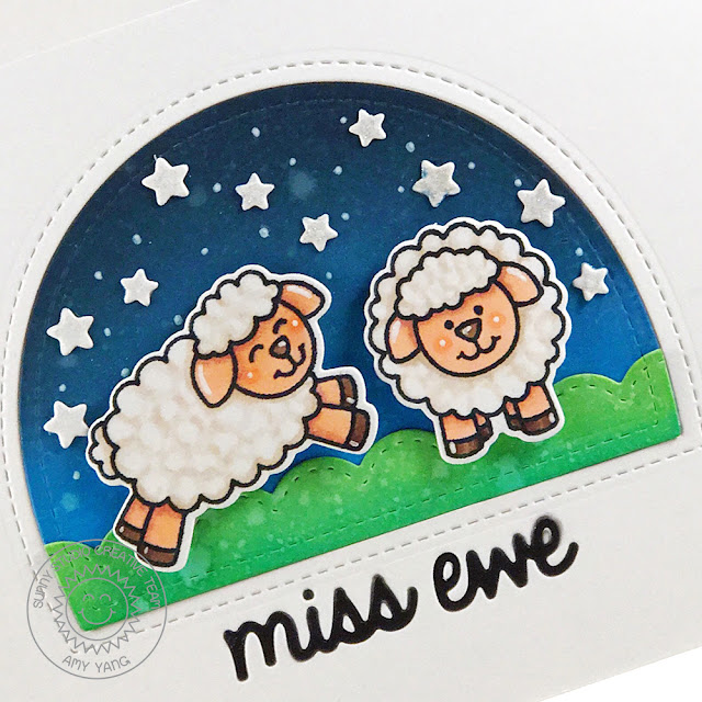 Sunny Studio Stamps: Missing Ewe Starry Night Background Card by Amy Yang
