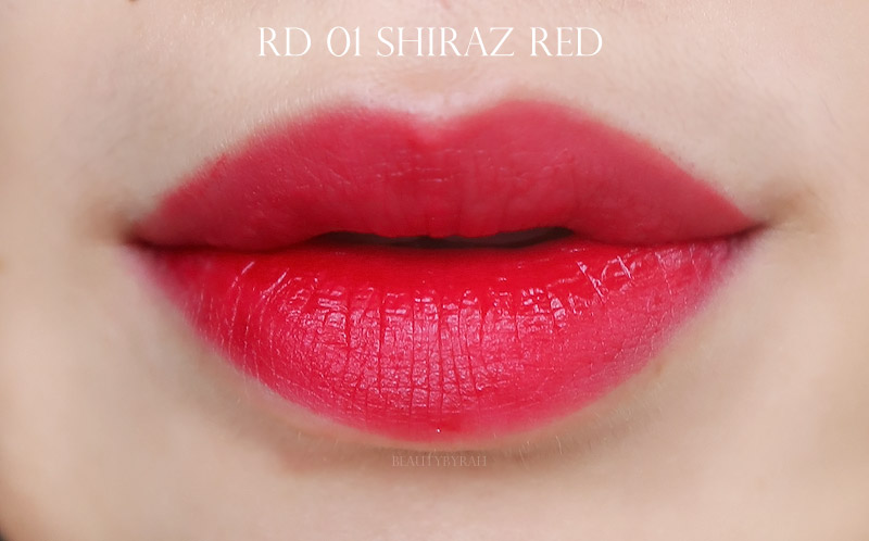 Labiotte Wine Lip Tints Review and Swatches of RD01 Shiraz Red
