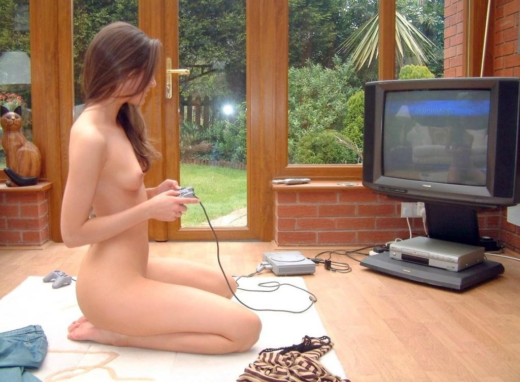 Sexy gamer girl takes a break