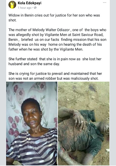 Photos: Widow cries for justice for her son who was shot dead over alleged robbery in Benin, says he was heading home on hearing news his father