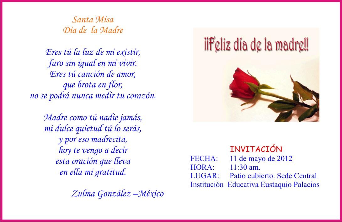Invitacion DÍa De Las Madres RegiÓn: PREGON EUSTAQUIANO: 05/12