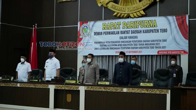 DPRD Tebo Gelar Paripurna Penyampaian Nota Pengantar Ranperda APBD-P Tahun 2021