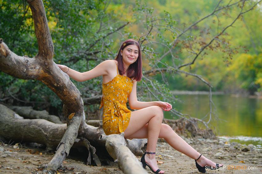Huron High School Girls Senior Portrait in Nature Water Fall Colors SudeepStudio.com Ann Arbor Senior Pictures Photographer