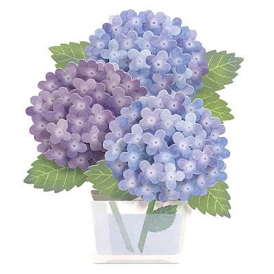 Luxuriant Hydrangea Pop Up Decorative Greeting Card