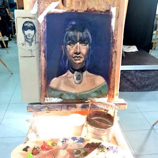 Portrait, Galleriayoellploger, Ayoe, Lise, Lysgaard, Pløger, Menorca pulsar, portrait, woman, landskab, landscape,  paint, galeri, colourfull