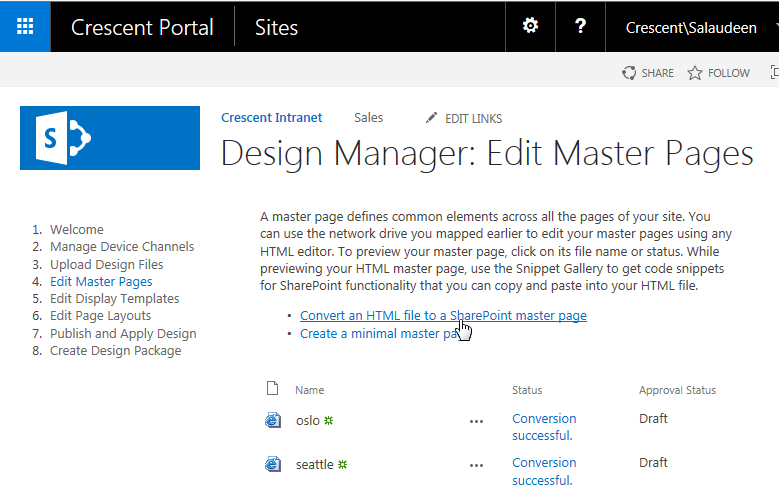 sharepoint 2016 master page customization