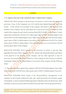 board resolution format for increase in authorised share capital as per companies act 2013
