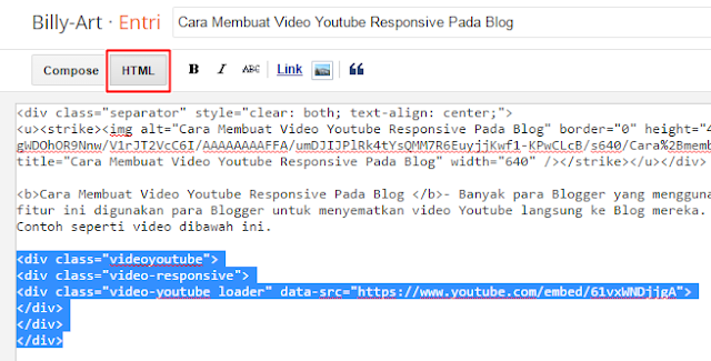 Kode HTML Pada Entri - Responsive Video Youtube