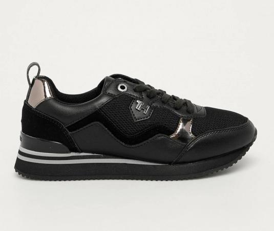 Tommy Hilfiger - Pantofi sport negri cu talpa de spuma