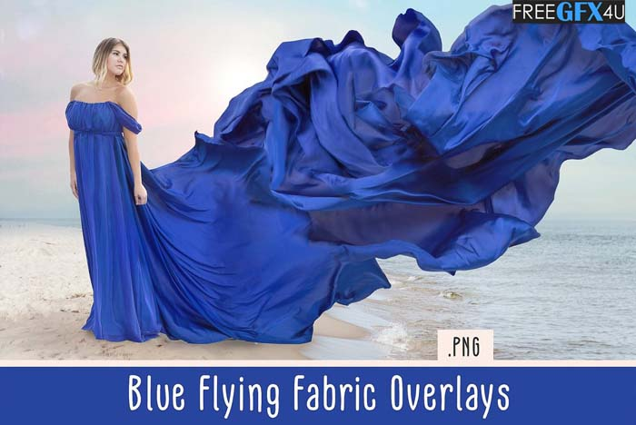 Blue Flying Fabric Overlays