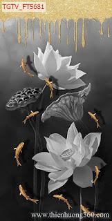 Tranh nghệ thuật Hoa sen Cá chép