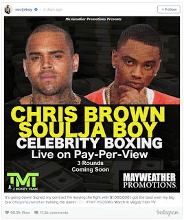 Chris brown and soulja boy in a boxing match