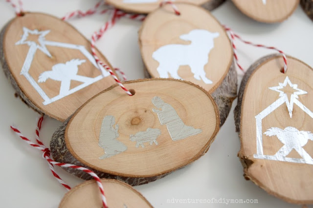 nativity wood slice ornaments