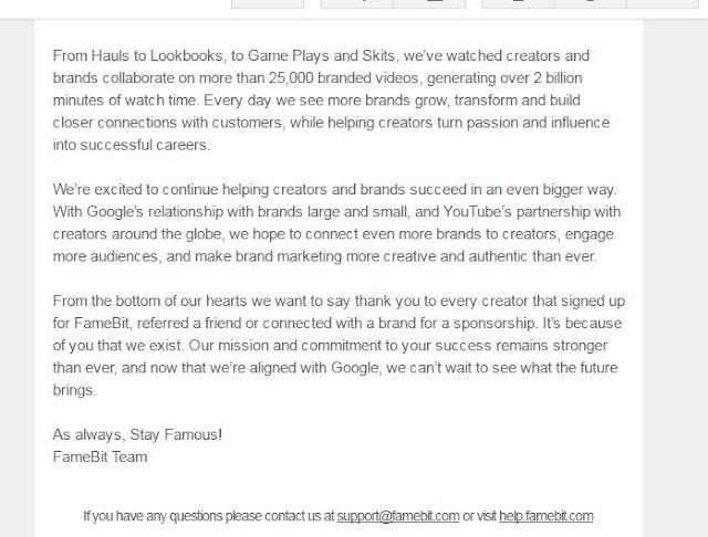 نص رسالة  FameBit