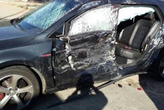 carro que filho de Fátima dirigia no momento do acidente