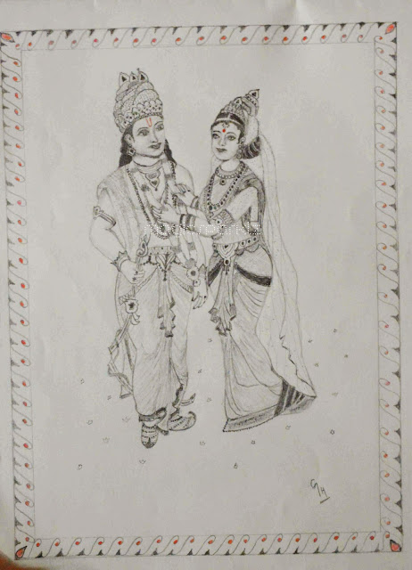 Rama sita marriage pencil drawing