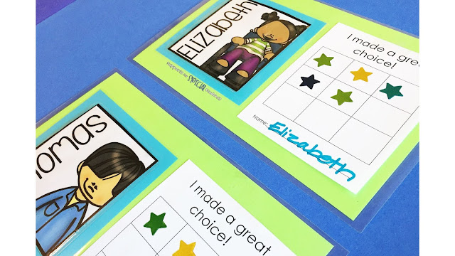 Square student labels with names and clipart next to sticker charts