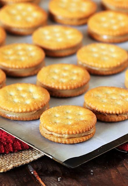 Peanut Butter Ritz Cracker Sandwiches on Baking Sheet Image